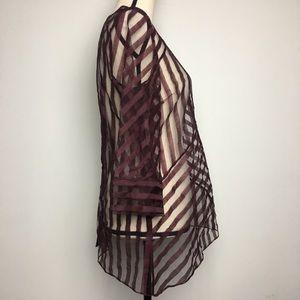 ANTONIO MELANI Tops - Antonio Melani Maroon Stripe Asymmetrical Top (M)